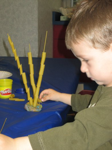 Threading rigatoni (thicker than penne)